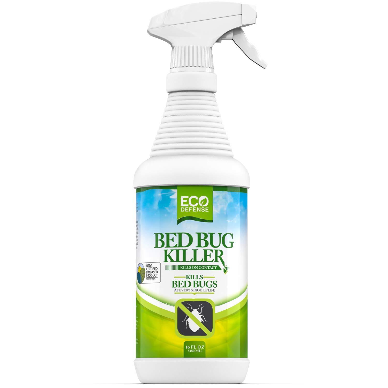 Eco Defense Bed Bug Spray - USDA Biobased Bed Bug Killer & Dust Mite Spray - Child & Pet Friendly - Natural Non Toxic Repellent Treatment - 16 oz