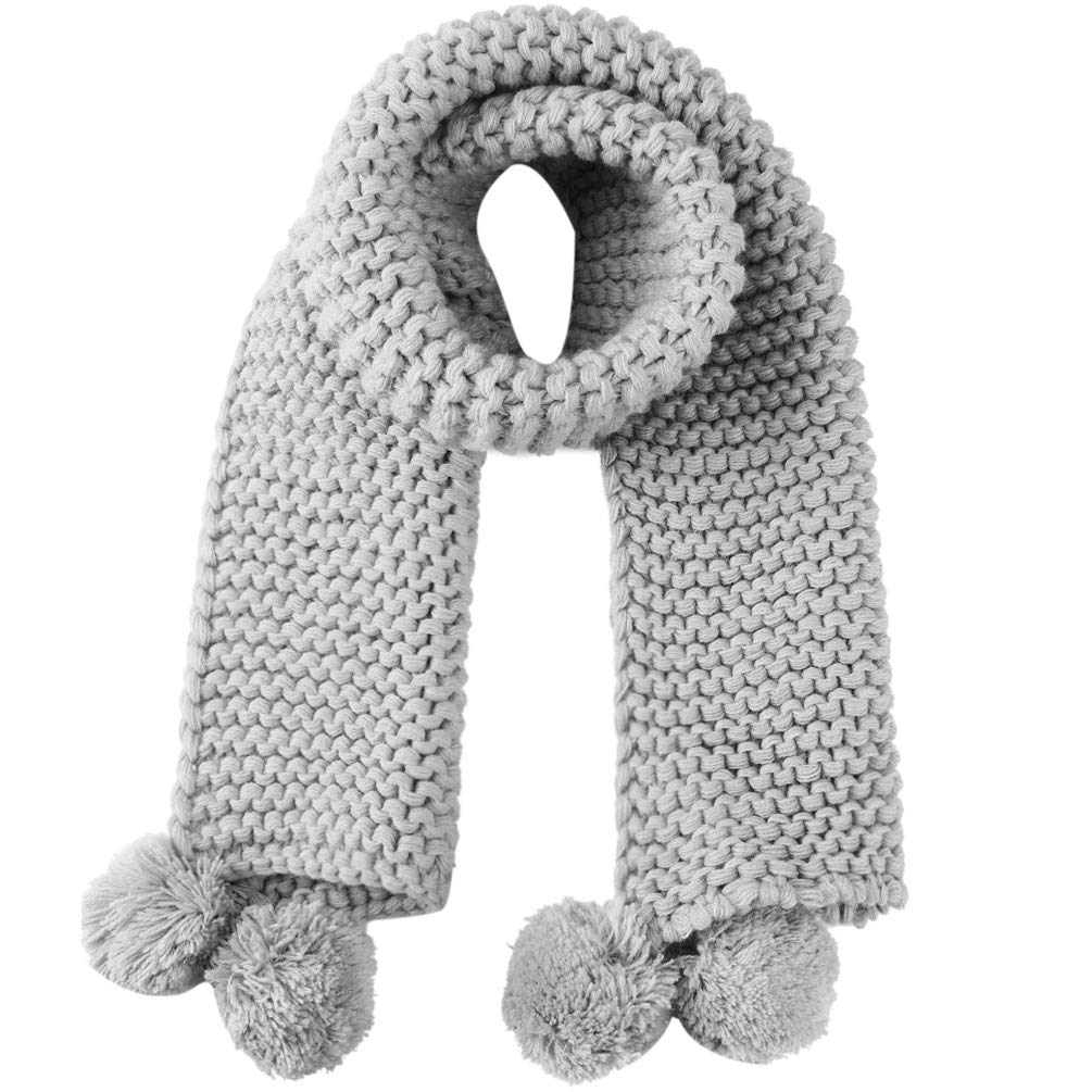 VBG VBIGER Kids Girls Boys Knitted Scarf Warm Winter Wrap Shawl Neck Warmer with Cute Pompon Grey