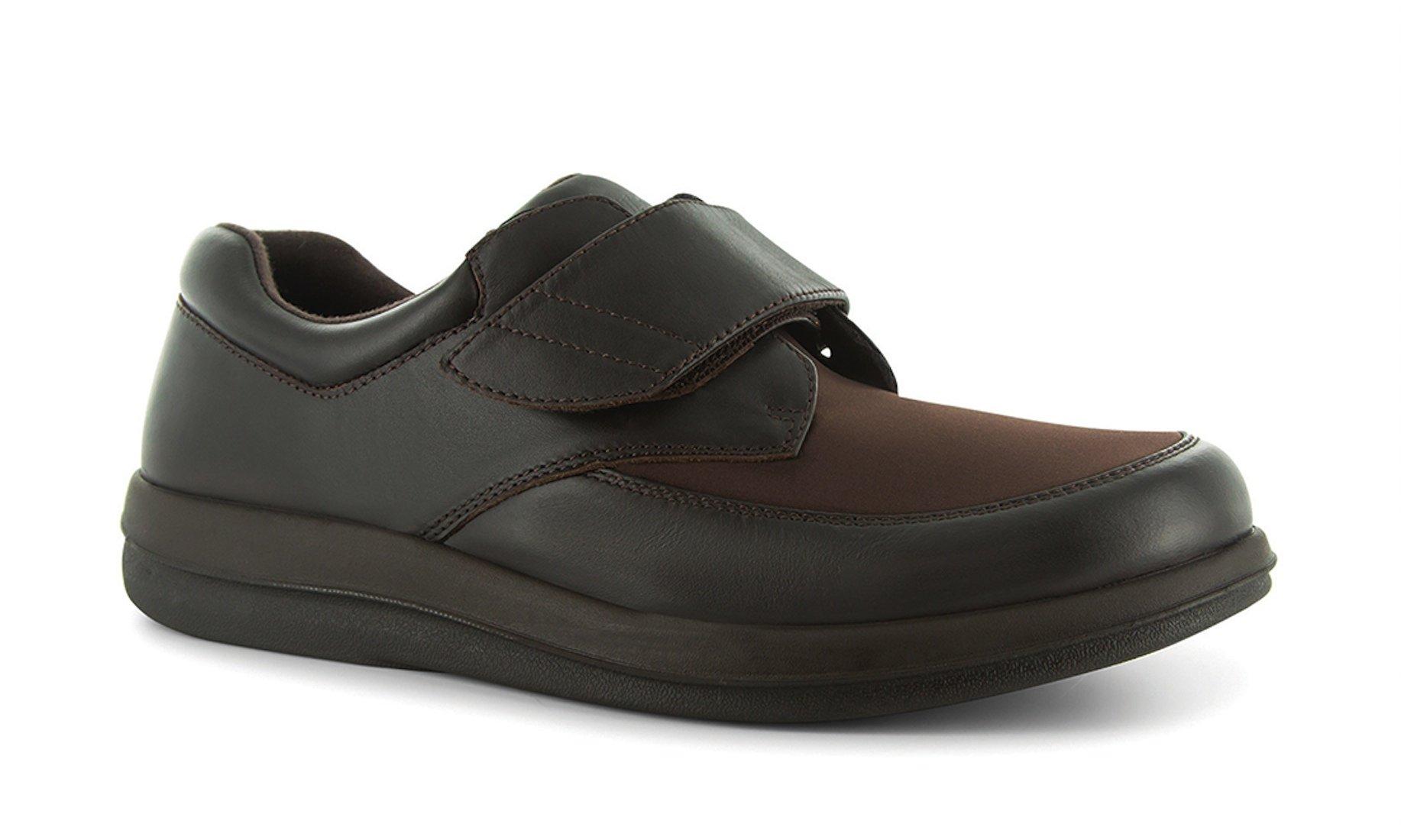 P W Minor Natural Men's Therapeutic Diabetic Extra Depth Shoe: Brown 14 Medium (D) Velcro