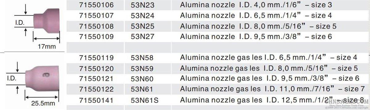 CHNsalescom 10 pcs #4 53N24 Alumina Nozzle Cups for WP-24 6.5mm 1//4