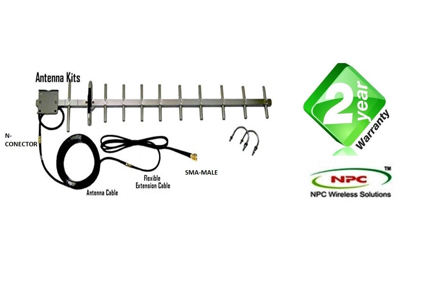 Npc Wireless 3G/4G High Gain Yagi Antenna With 10 Metres Cable SMA- Male For Routers With Sma Female Port- 16 Dbi Gain