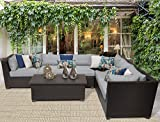 TK Classics Barbados 7 Piece Outdoor Wicker Patio Furniture Set, Grey