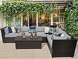 TK Classics Barbados 7 Piece Outdoor Wicker Patio Furniture Set, Grey