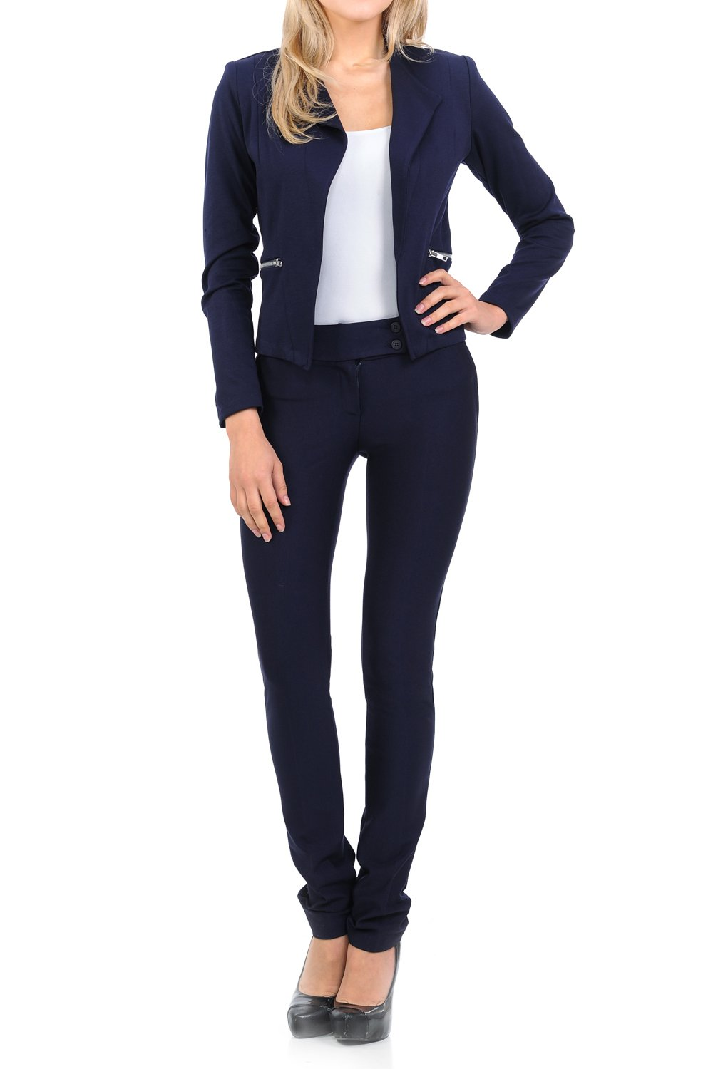 Sweethabit Womens Classic Wear to Work Solid Pants Suit Set(3020set) (XLarge, 3125-3030 Navy)