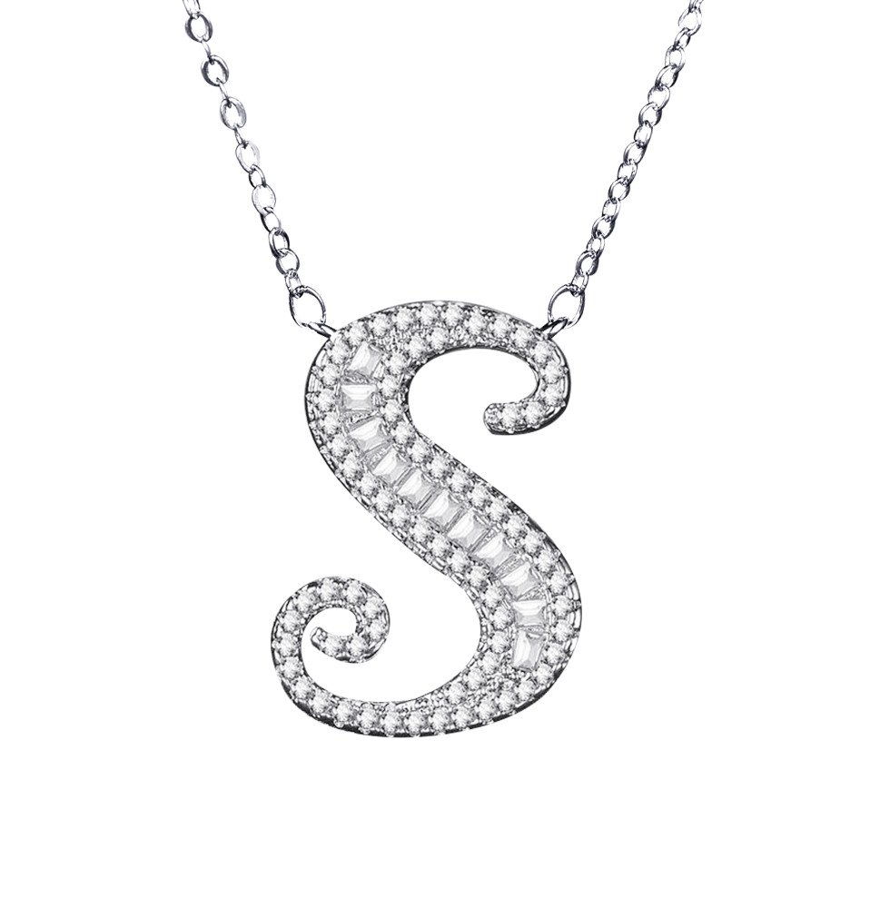 Uloveido Initial S Letter White Gold Plated Necklace Pendant for Women Girls Kids Mom Friend with Cubic Zirconia Stone CZ Crystals NL025