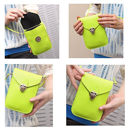 Cellphone Mini Bright Rose Embossed Crossbody Square Single Shoulder Leather Bag PU Peiji Pouch Surface Red wPpcqRRS