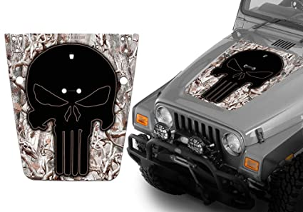amazon com jeep wrangler hood decal wrap kit punisher skull snow 2006 Chevy Cobalt Hood