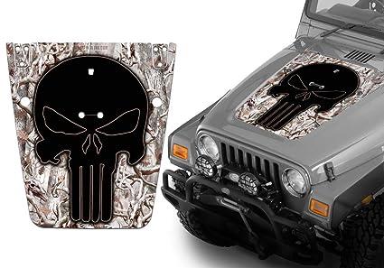 amazon com jeep wrangler hood decal wrap kit punisher skull snow 2006 Ford Mustang Hood