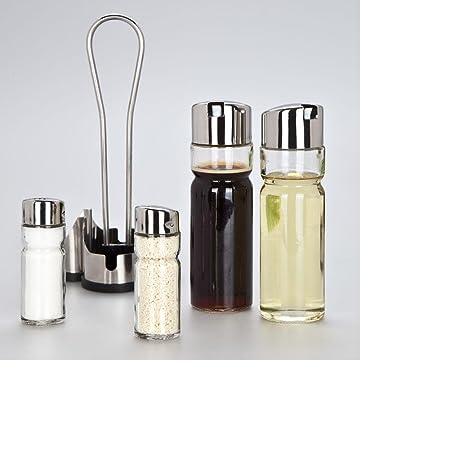 Cristal salero y pimentero con soporte dispensador de aceite ...