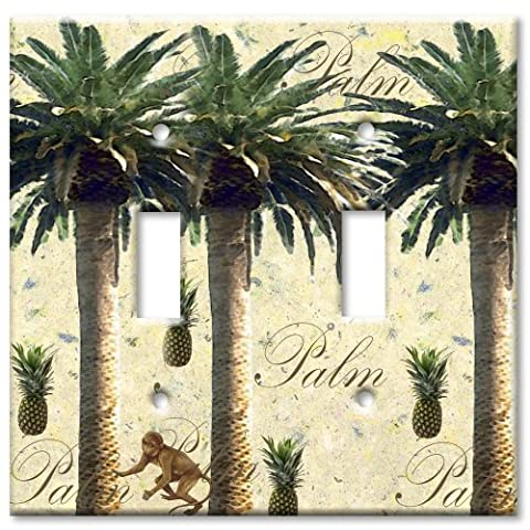Art Plates - Double Gang Toggle OVERSIZE Switch Plate - Palm Tree - Oversize Light Switchplates