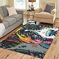InterestPrint Floor Rugs Mat Custom Colorful Dog Area Rugs Modern Carpet for Home Dining Room Living Room Decoration Size 7x5
