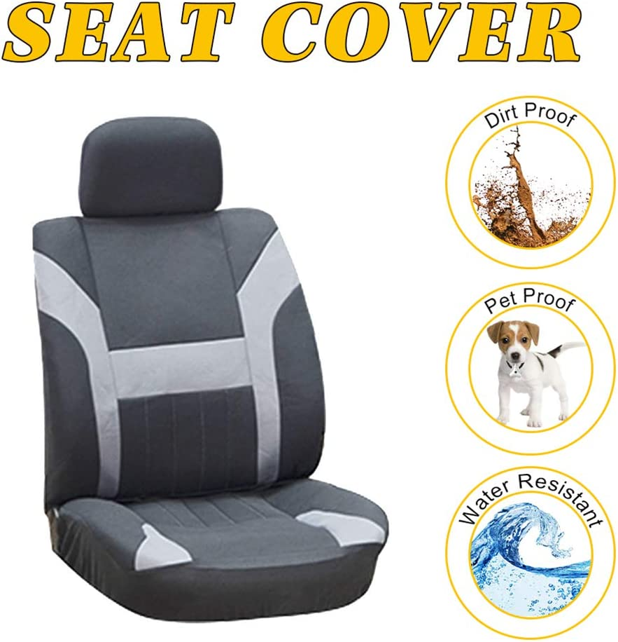 OCPTY Car Seat Cover, Stretchy Universal Seat Cushion w/Headrest 100% Breathable Automotive Accessories with Durable Washable Polyester for Most Cars(Black/Gray)