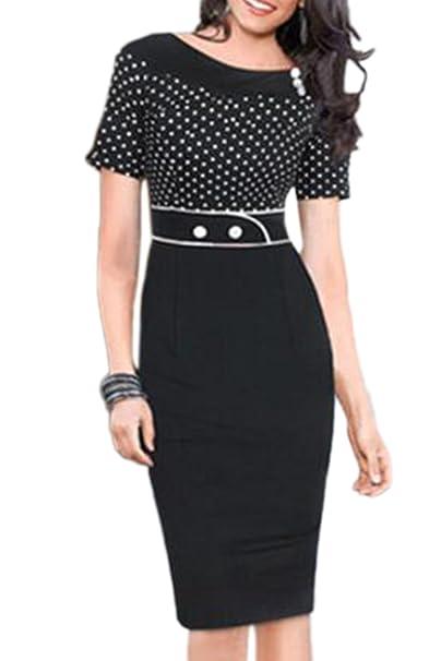 La Mujer Polka Dot Corta Lápiz Bodycon Vestido Vintage De Negocios: Amazon.es: Ropa y accesorios