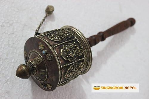 Singing Bowl Nepal Tibetan Buddhist Om Mani Handmade Copper Hand Prayer Wheel – Very Artistic Auspicious 8 Lucky Symbols
