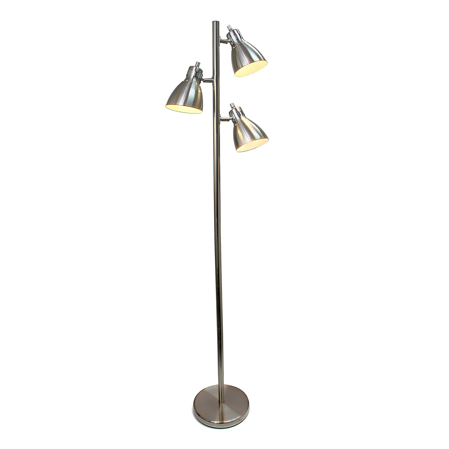Simple Designs Home LF2007-BSN Simple Designs Metal 3-Light Tree Floor Lamp, Brushed Nickel Finish