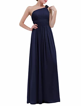 FEESHOW Womens One Shoulder Chiffon Bridesmaid Dresses Ruched Padded Formal Party Prom Evening Dress Navy Blue