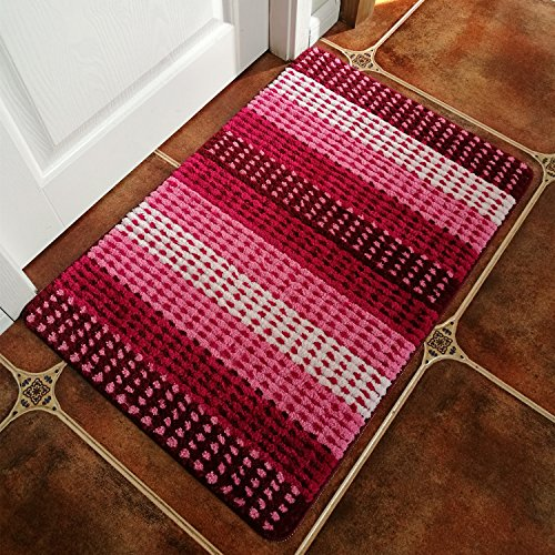 Hihome Modern Door Rugs Pink Stripe Non-Slip Outdoor Door Mats Inside Entrance Rugs 24-Inch By 35-Inch (Pink Gradient) Pink And Brown Stripes