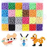 Feihoudei Beads Refill, 24 Colors Water Spray Beads Set Sticky Bead Art Crafts Toy for Kids Beginners, 3600 pcs