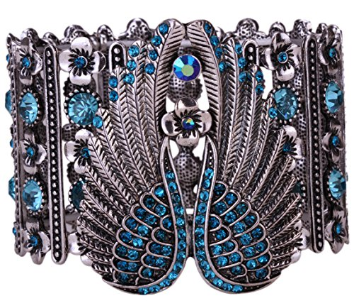 Angel Crystal Silver Bracelets - YACQ Jewelry Women's Crystal Angel Wings Stretch Cuff Bracelet