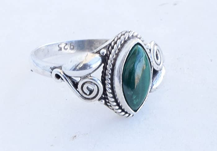 Gemstone 925 Sterling Silver Malachite Ring Size 8 5.5 Grams Collectible Art Jewelry