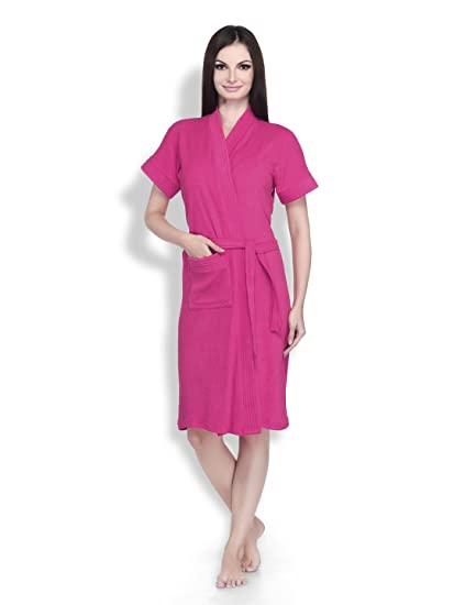e1451d8f4e Buy Dark Pink Color Womens 100% Terry Cotton Bathrobe - Half Slevees Knee  Length with Pocket - Bath Robe is Available in Size L by Sanddune Online at  Low ...