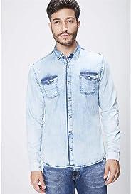 Camisa Jeans Claro Masculina