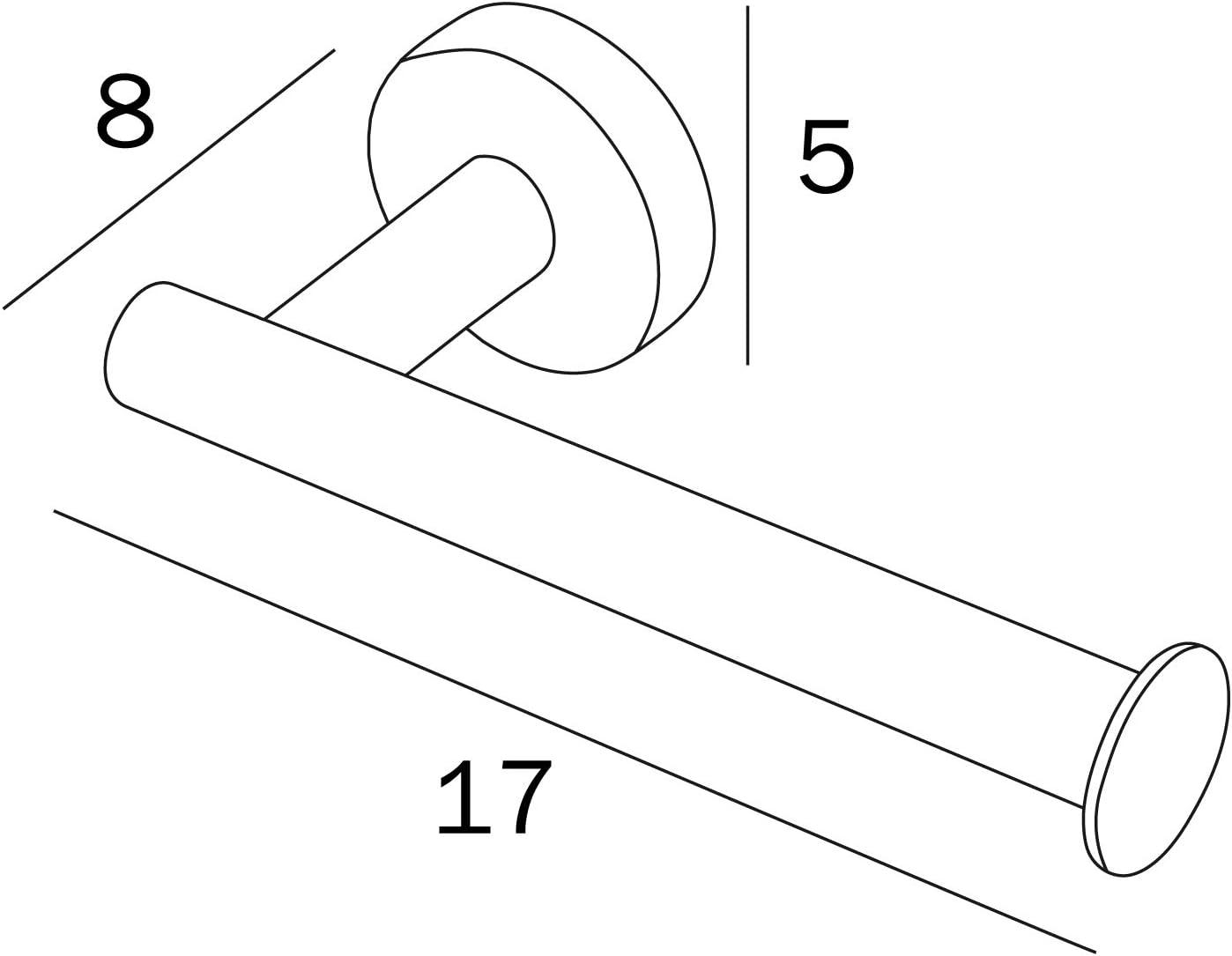 8 x 17 x 5 cm INDA Styl Porte-Papier Toilette en Acier Inoxydable Blanc