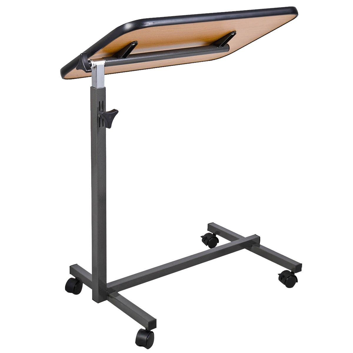 Overbed table food tray non tilt top bed hospital adjustable rolling - Amazon Com Overbed Laptop Food Tray Table Rolling Desk Hospital Over Bed With Tilting Top Kitchen Dining