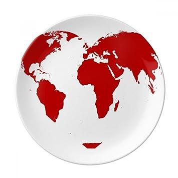 Amazon Com Heart Red World Map Valentine S Day Dessert Plate