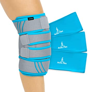 7308b4b205 Vive Knee Ice Pack Wrap - Cold/Hot Gel Compression Brace - Heat Support  Strap