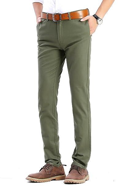 e8a12272 Harrms Pantalones Casuales de Hombre, 100% algodón, Slim Fit ...