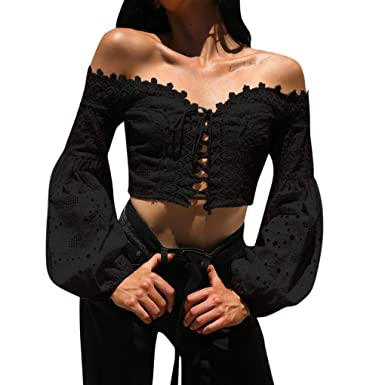 94f9be1c51f Malbaba Women Off Shoulder Long Sleeve Hollow Lace Loose Blouse Tops T-Shirt (Black