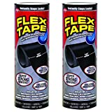 Flex Tape Rubberized Waterproof Tape, 12'' x 10', Black (2 Pack)