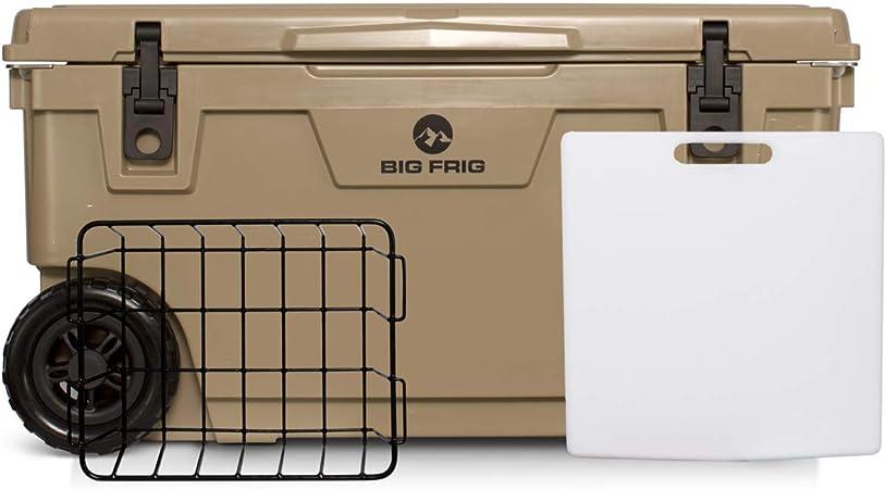 /Includes Cutting Board//Divider and Basket./ 5 Year Limited Warranty Big Frig Badlands Cooler Bundle 20 QT Sand