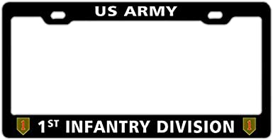 1st Infantry Division US Army Universal Black License Plate Frame Holder Aluminum Metal Auto License Cover Holder with Screw US Standard