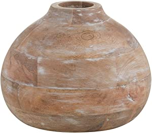 "47th & Main Large Decorative Wood Flower Vase Centerpiece, Mango Wood, 9"""" x 6.75"""""" (MR755)"