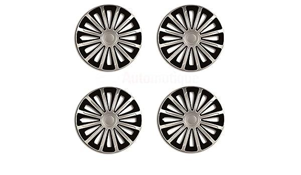 Juego de tapacubos de alta calidad, tamaño de 16 pulgadas, color negro y plata: Amazon.es: Coche y moto