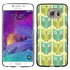 TopCaseStore / la caja del caucho duro de la cubierta de protección de la piel - Teal Green Pattern Bird Cartoon Drawing - Samsung Galaxy S6 SM-G920