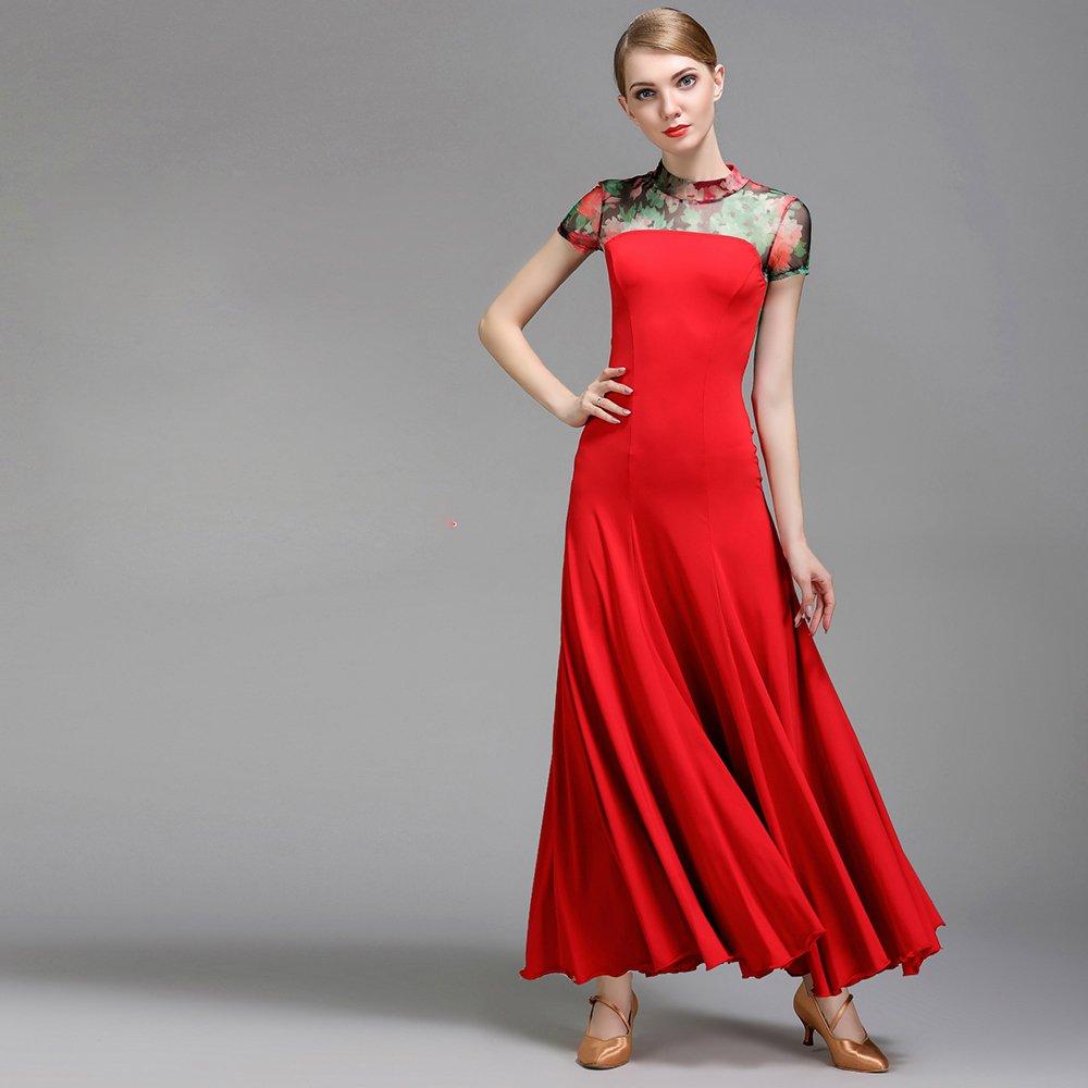 【お取り寄せ】 現代の女性の大きな振り子ネット糸ファッションモダンダンスドレスタンゴとワルツダンスドレスダンスコンペティションスカート印刷半袖ドレスダンスコスチューム B07HHNQJLN XXL|Red XXL|Red Red Red XXL XXL, キレイスキー洗剤shop:210cc952 --- a0267596.xsph.ru