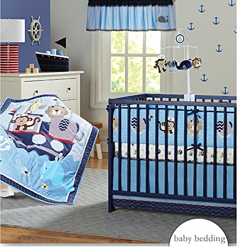 Giraffe Monkey - Brandream Nautical Crib Bedding Sets with Bumper Blue Baby Boy Bedding Sets, Ocean Whale Monkey Giraffe Elephant Printed, 9 Pieces