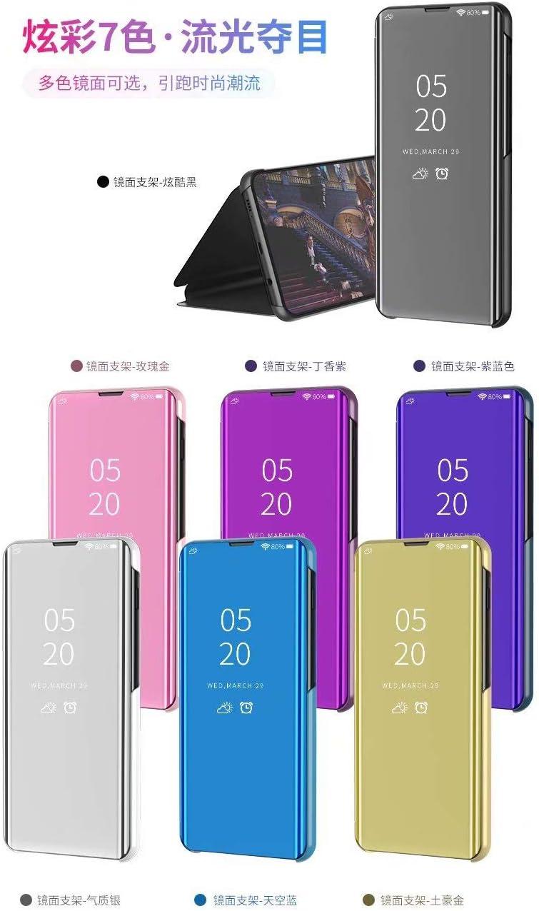 El/égant Antichoc Verre Tremp/é avec Stand Flip Clear View Etui /à Rabat Compatible Coque Samsung Galaxy J4 Plus//J415//J4 Prime//J4 Core Translucide Miroir Mirror Makeup Black