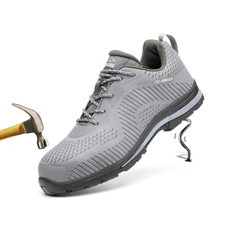 unisex air mesh steel toe work shoes industrial&construction shoes puncture proof safety shoes (8.5, 04 black)