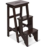 Giantex 3 Tier Folding Step Stool, Multifunction 3-in-1 Wood Step Stool, Portable Seat Display and Storage Shelf for Library, Home Kitchen (Brown, 30''H)