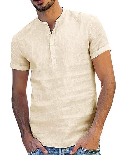Onsoyours Camisa Hombre Cuello Mao Lino Blusa Manga Corta Camisas ...