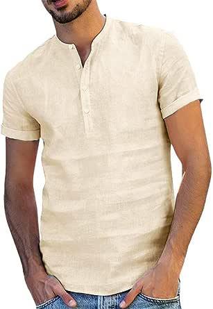Onsoyours Camisa Hombre Cuello Mao Lino Blusa Manga Corta Camisas Top Verano Camisa de Playa Suelta Camisas De Trabajo Suave Transpirable