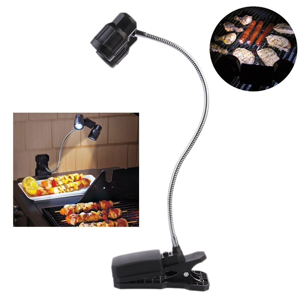 Maelu LED BBQ Grill Light with Patented Universal Mount - Fits Weber, Brinkmann, Kenmore, Char Broil, and All Other Brands - Ultimate Grilling Accessory - Desk Lamp(Black)