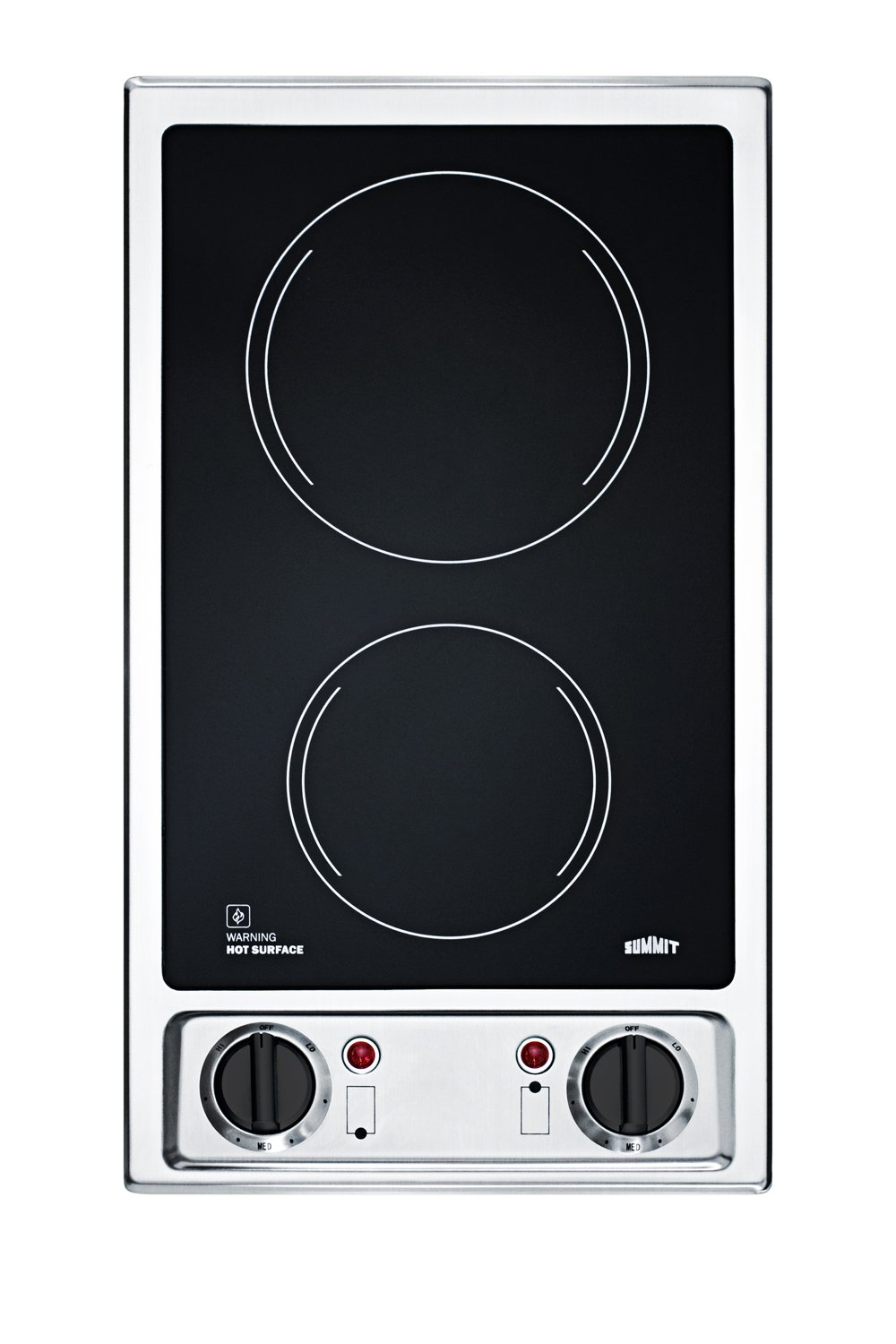"""Summit FBA CR2B120 115V 2-Burner 12"""" Radiant Cooktop with Stainless Steel Trim for Built-in Installation, Black"""