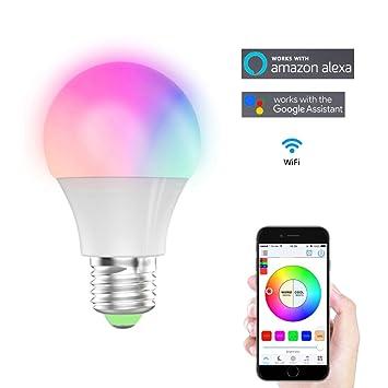 Bombillas LED WiFi Inteligente funciona con Amazon Alexa Google Home,Feicuan E27 Iluminación regulable Multicolor