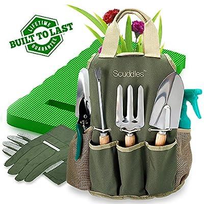 Scuddles Garden Tools Set - 8 Piece Gardening tools With Storage Organizer, Ergonomic Hand Digging Weeder, Rake, Shovel, Trowel, Sprayer, Gloves Gift for Man & Women