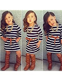2pcs Baby Girls Long Sleeve Striped Dress + Belt Set Kids Casual Clothes Outfits ,7T(Age:6-7Y) DHY